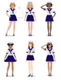 Inzameling van mooie meisjes in de vorm van een zeemans modieuze, vectorillustratie royalty-vrije illustratie
