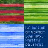 Inzameling van mooie naadloze vector gebreide patronen Stock Afbeeldingen