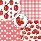 Inzameling van naadloos patroon van rode hand getrokken rode tomaten, paprika's en voorwerpen voor keuken Inkt en gekleurde schet vector illustratie