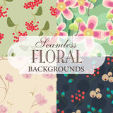 Inzameling van naadloze achtergronden op het onderwerp van bloemengeklets Stock Foto's