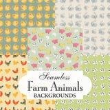 Inzameling van naadloze achtergronden op het onderwerp van landbouwbedrijfdieren Stock Foto