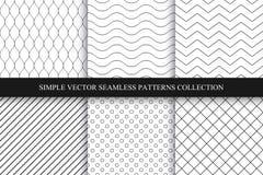Inzameling van naadloze geometrische minimalistic patronen Stock Foto