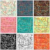 Inzameling van naadloze kleurrijke achtergronden met abstracte lijnen stock illustratie