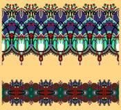 Inzameling van naadloze sier bloemenstrepen Stock Afbeeldingen