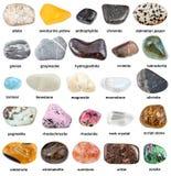 Inzameling van natuurlijke minerale halfedelstenen met naam royalty-vrije stock foto's
