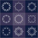 Inzameling van negen monogrammen Vector Illustratie