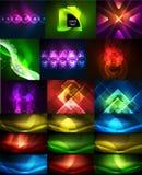 Inzameling van neon gloeiende abstracte achtergronden, magische geplaatste energiemalplaatjes stock illustratie
