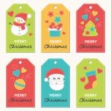 Inzameling van Nieuwjaar en Kerstmisgiftmarkeringen stock illustratie