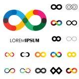 Inzameling van oneindigheidssymbolen - vectorembleempictogrammen royalty-vrije illustratie