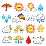 Inzameling van ongebruikelijk beeldverhaal en de grappige pictogrammen van het smileyweer Leuke Stijl Zonnig, bewolkt, regenachti stock illustratie