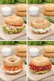 Inzameling van ongezuurde broodjes met roomkaas, zalmvissen en ham voor stock fotografie