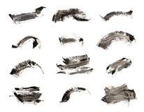 Inzameling van ontwerp van de de kwaststreektextuur van de samenstellings het kosmetische die mascara op wit wordt geïsoleerd stock foto