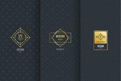 Inzameling van ontwerpelementen, etiketten, pictogram, kaders, voor verpakking, Royalty-vrije Stock Foto's