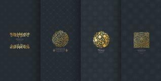 Inzameling van ontwerpelementen, etiketten, pictogram, kaders, voor verpakking, Stock Foto