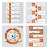 Inzameling van 4 oranje kleurenmalplaatje/grafische of websitelay-out Het kan voor prestaties van het ontwerpwerk noodzakelijk zi Stock Afbeelding