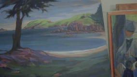Inzameling van origineel olieverfschilderij op canvas stock footage