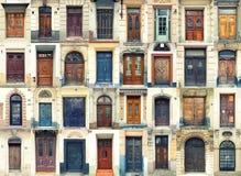 Inzameling van oude deuren stock afbeeldingen