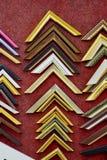 Inzameling van oude die fotohoeken, kaders en randen op Re worden geïsoleerd Stock Foto