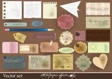 Inzameling van oude document voorwerpen voor het scrapbooking Stock Fotografie