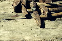 Inzameling van oude hamers stock foto