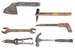 Inzameling van oude hulpmiddelen stock foto's