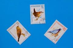 Inzameling van oude postzegels Stock Fotografie