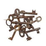 Inzameling van oude roestige sleutels Stock Foto