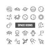 Inzameling van overzichts ruimtepictogrammen Lineaire pictogrammen voor Web, mobiele apps Stock Foto's