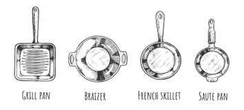 Inzameling van pan verschillende types royalty-vrije illustratie