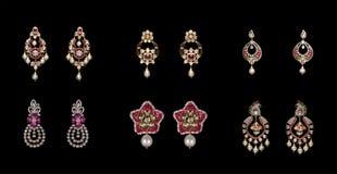 Inzameling van paren diamantoorringen Stock Foto