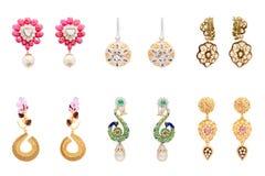 Inzameling van paren diamantoorringen Stock Fotografie