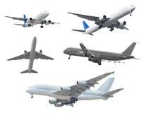Inzameling van passagiersvliegtuigen op witte achtergrond wordt geïsoleerd die Royalty-vrije Stock Afbeeldingen