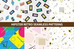 Inzameling van patronen van hipster retro Memphis Royalty-vrije Stock Afbeelding