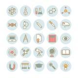 Inzameling van pictogrammen van de overzichts de vlakke wetenschap Royalty-vrije Stock Afbeeldingen