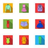 Inzameling van pictogrammen van de kleding van vrouwen Diverse vrouwen` s kleren voor het werk, het lopen, sporten Vrouwen die pi royalty-vrije illustratie