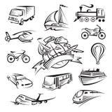 Inzameling van pictogrammen van vervoer Stock Foto's