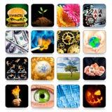Inzameling van pictogrammen voor programma's en spelen Stock Fotografie
