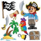 Inzameling 1 van piraatthematics Stock Afbeeldingen