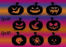 Inzameling van pompoenen voor de vakantie van Halloween, silhouet stock illustratie