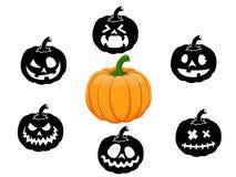 Inzameling van 6 pompoenen voor Halloween Stock Foto