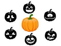 Inzameling van 6 pompoenen voor Halloween Stock Foto's