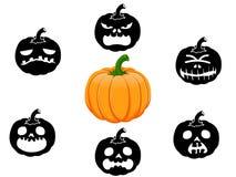 Inzameling van 6 pompoenen voor Halloween Royalty-vrije Stock Foto's