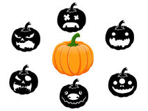 Inzameling van 6 pompoenen voor Halloween Royalty-vrije Stock Afbeeldingen