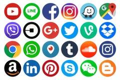 Inzameling van populaire ronde sociale media pictogrammen Stock Fotografie
