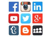 Inzameling van populaire sociale die media emblemen op papier worden gedrukt Stock Foto