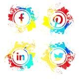 Inzameling van populaire sociale media emblemen royalty-vrije illustratie