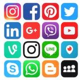 Inzameling van populaire sociale media emblemen Stock Fotografie