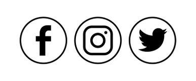Inzameling van populaire sociale media emblemen Vector illustratie stock fotografie