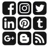 Inzameling van populaire zwarte sociale die media emblemen op papier worden gedrukt Stock Fotografie