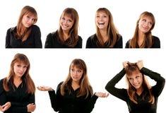 Inzameling van portraitsd van emotioneel aantrekkelijk blond tienermeisje stock foto